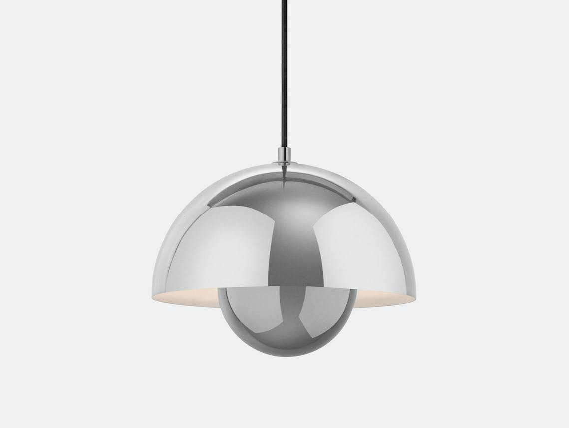 And Tradition Flowerpot Pendant Light Polished Ss Verner Panton