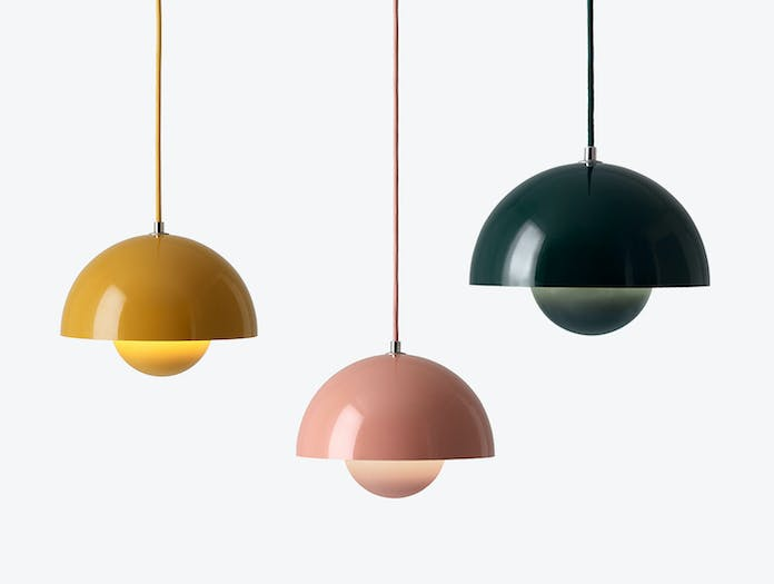 And Tradition Flowerpot Pendant Lights Mustard Beige Red Green Verner Panton