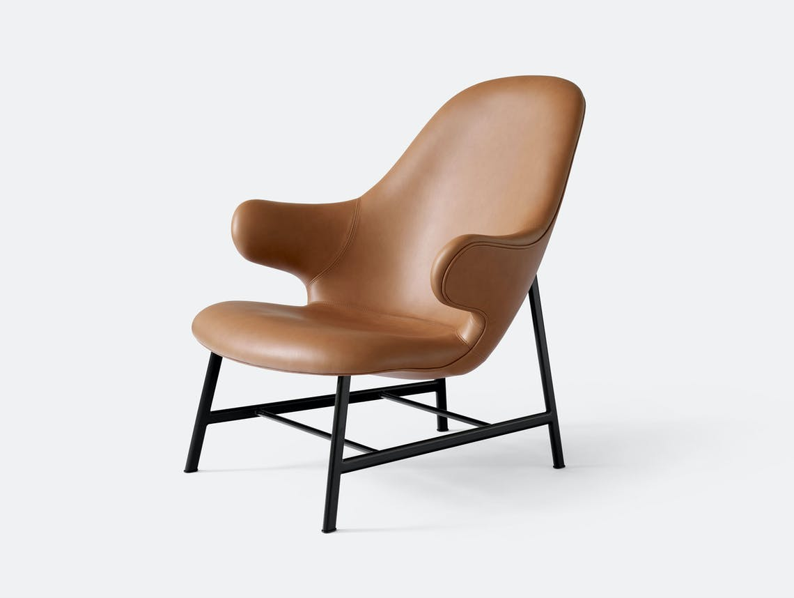 And Tradition Jh13 Catch Lounge Chair Cognac Silk Leather Jaime Hayon