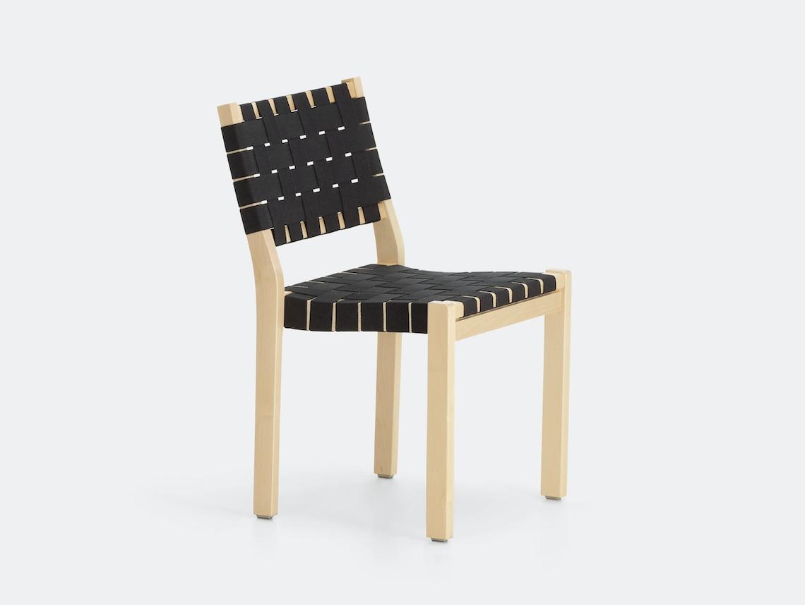 Artek Chair 611 Birch Black Alvar Aalto