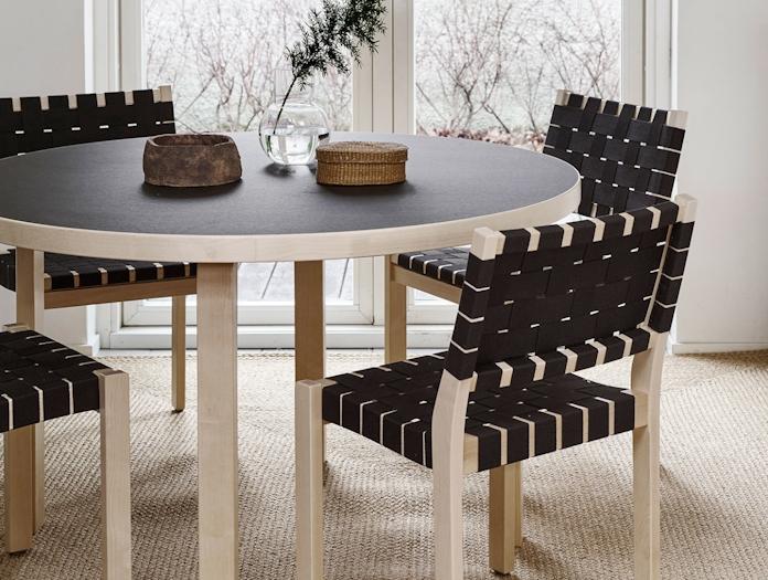 Artek Chair 611 Birch Black Webbing Detail Aalto