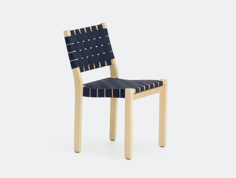 Artek Chair 611 Birch Blue Alvar Aalto