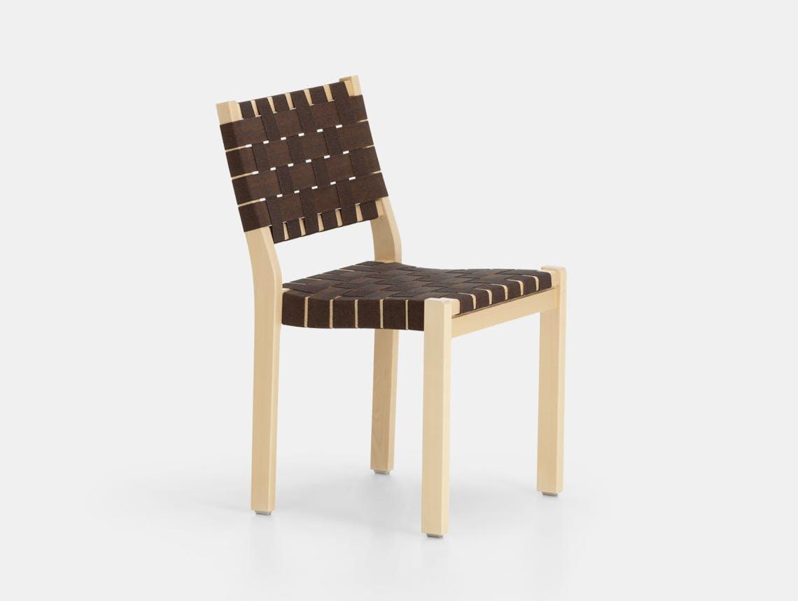 Artek Chair 611 Birch Brown Alvar Aalto