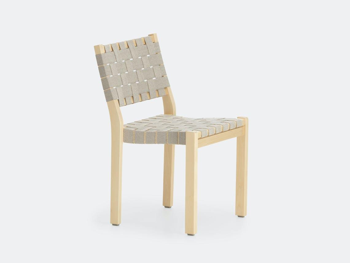 Artek Chair 611 Birch Natural Black Alvar Aalto