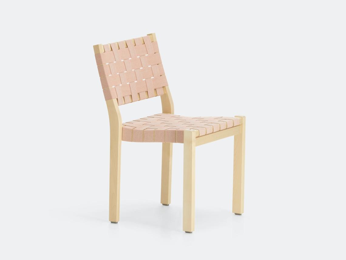 Artek Chair 611 Birch Natural Red Alvar Aalto