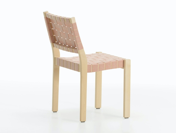 Artek Chair 611 Birch Natural Red Webbing Aalto