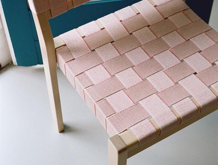 Artek Chair 611 Birch Natural Red Webbing Detail Aalto