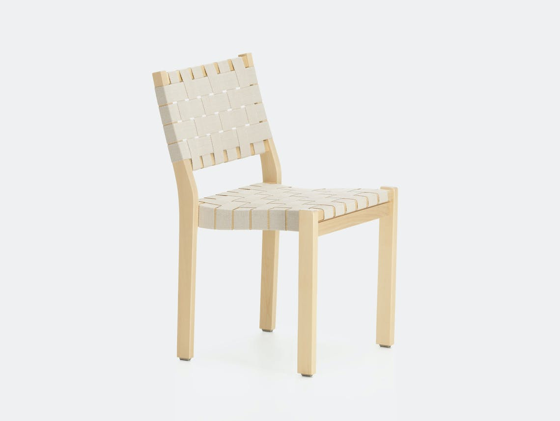 Artek Chair 611 Birch Natural White Alvar Aalto