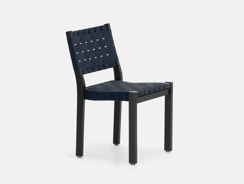 Artek Chair 611 Black Blue Alvar Aalto