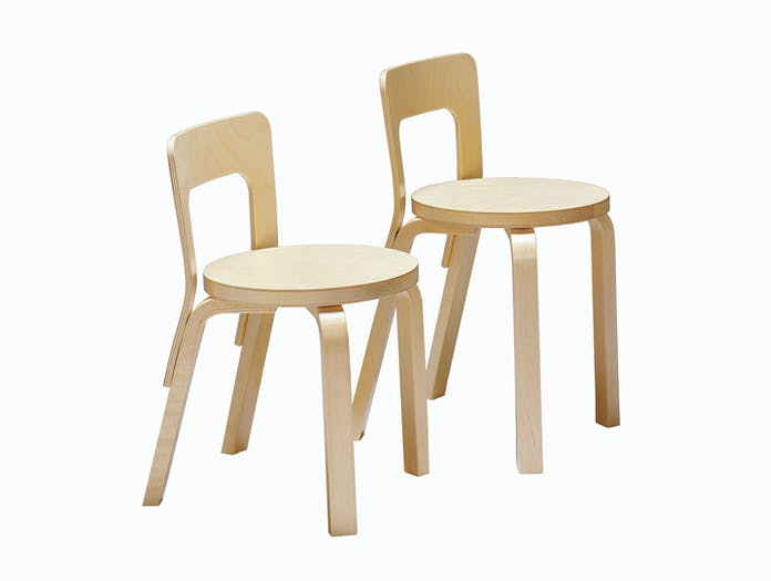 Artek Chair 65 Birch Pair Alvar Aalto