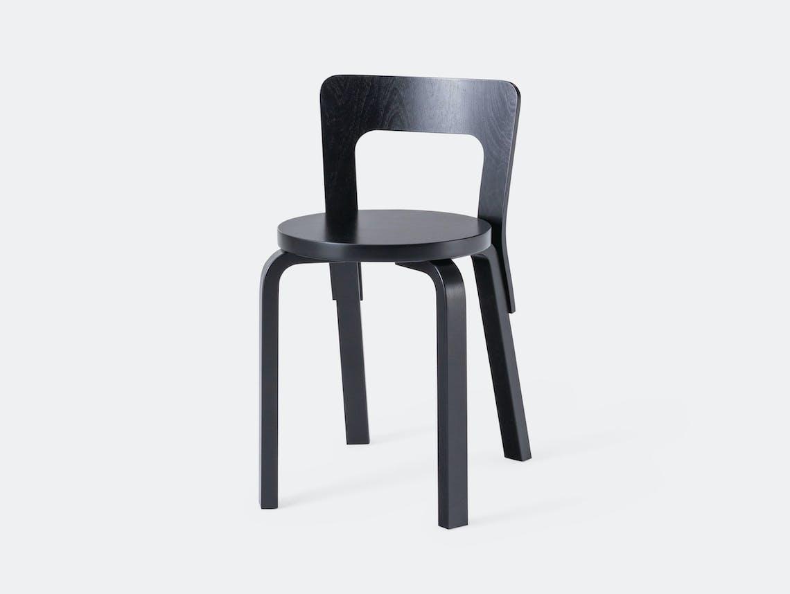 Artek Chair 65 Black Birch Alvar Aalto