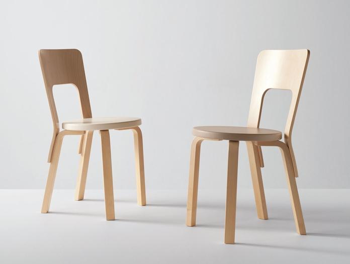 Artek Chair 66 Birch Pair Alvar Aalto