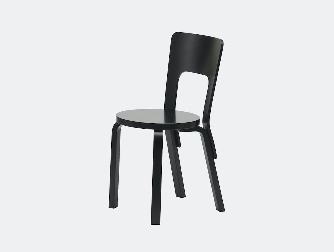 Artek Chair 66 Black Birch Alvar Aalto