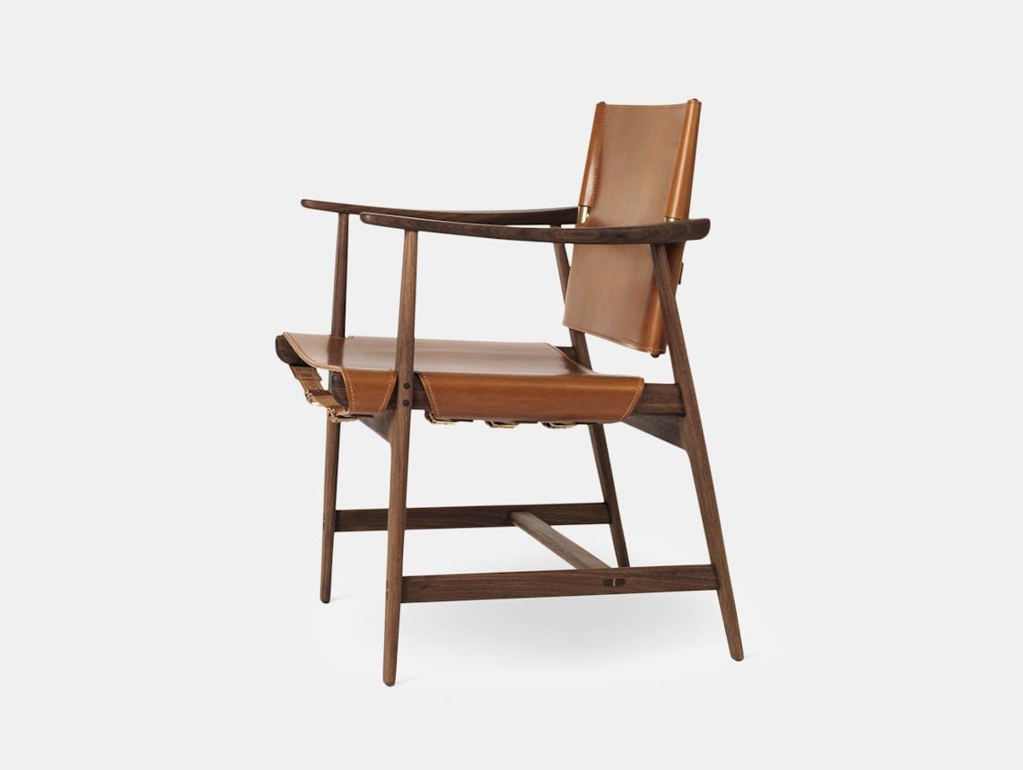 Carl Hansen Huntsman Chair Walnut Oiled Cognac Leather Borge Mogensen