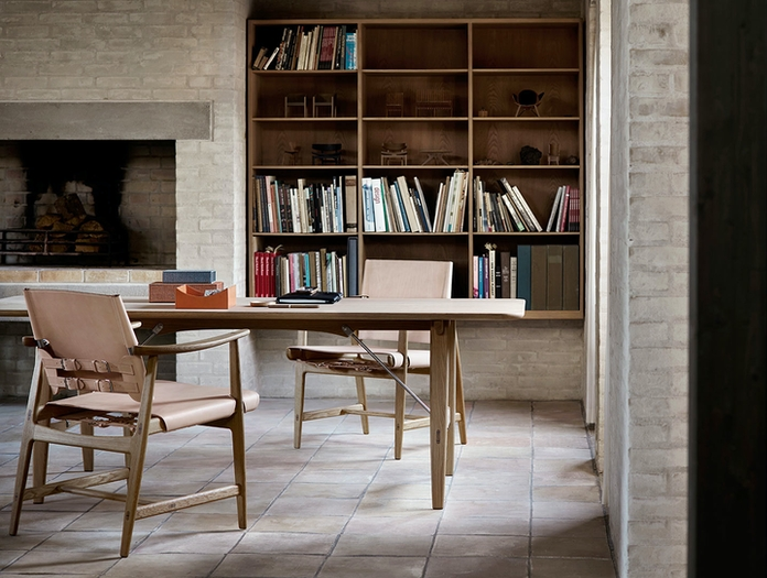 Carl Hansen Huntsman Chairs Oak Oiled Natural Leather Borge Mogensen