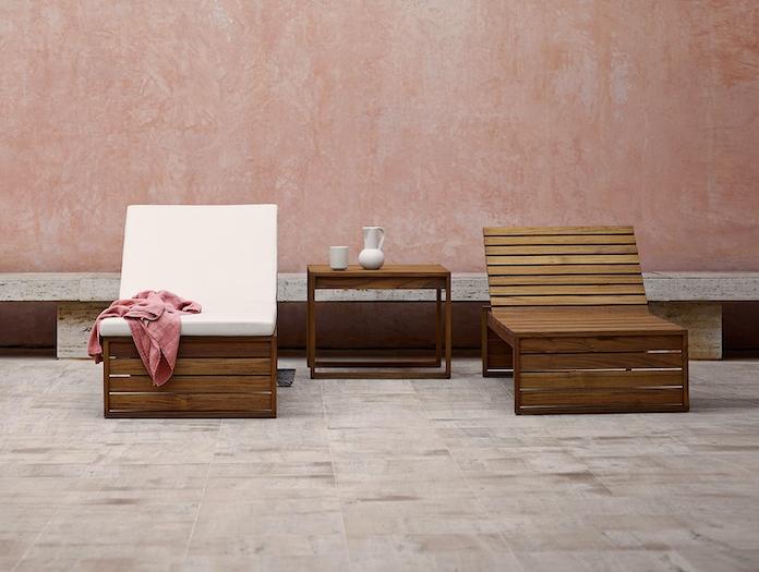 Carl Hansen Kjaer Bk14 Sunbed Teak Bk16 Side Table