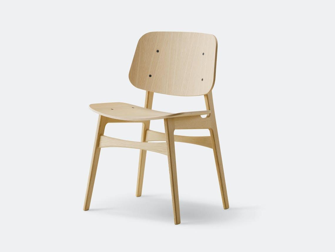Fredericia Soborg Chair Wood Base Lacquered Oak Borge Mogensen