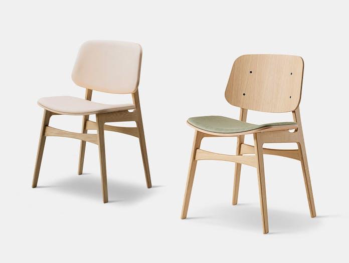 Fredericia Soborg Chair Wood Base Oak Upholstered 2 Borge Mogensen