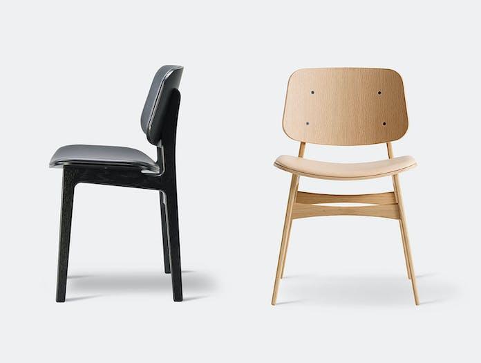 Fredericia Soborg Chair Wood Base Oak Upholstered Borge Mogensen
