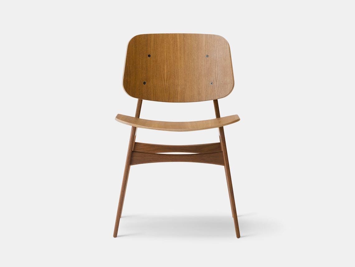 Fredericia Soborg Chair Wood Base Oak Borge Mogensen