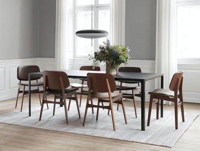 Fredericia Soborg Chairs Wood Base Borge Mogensen