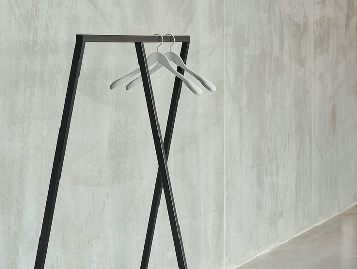Hay Loop Stand Wardrobe Black Soft Coat Hanger Light Grey