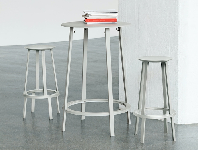 Hay Revolver Table And Stools Grey Leon Ransmeier