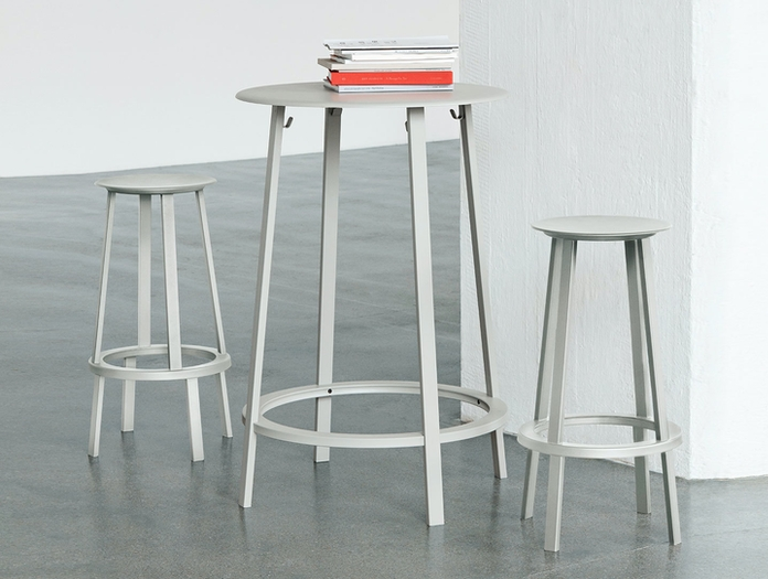 Hay Revolver Table And Stools Grey Leon Ransmeier