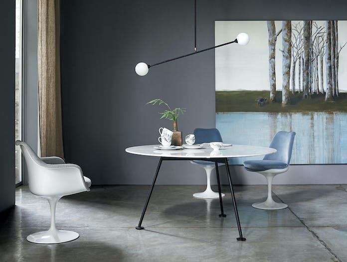 Knoll Grasshopper Table Round White Marble Piero Lissoni