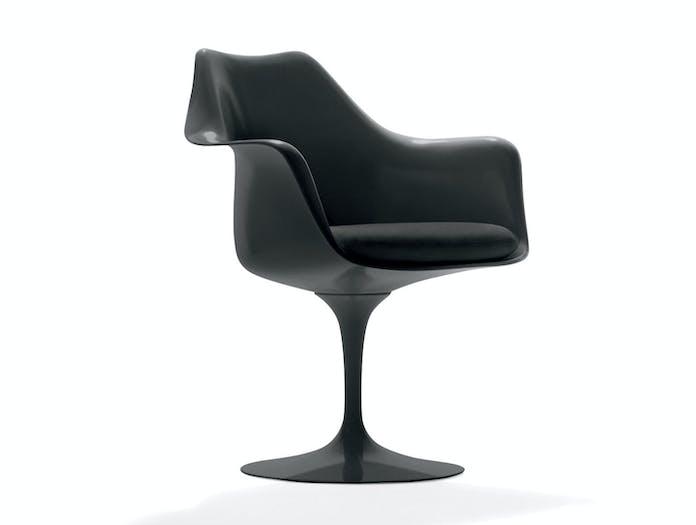 Knoll Tulip Side Chair With Arms Black Eero Saarinen