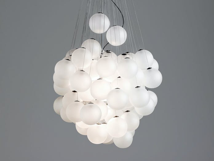 Luceplan Stochastic Suspension Light Satin White On Daniel Rybakken