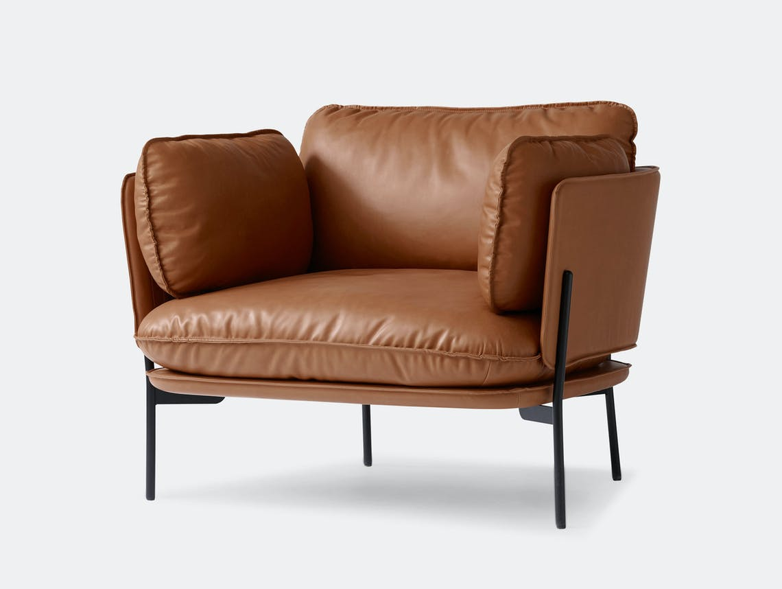 And Tradition Cloud Armchair Brown Leather Ln1 Luca Nichetto
