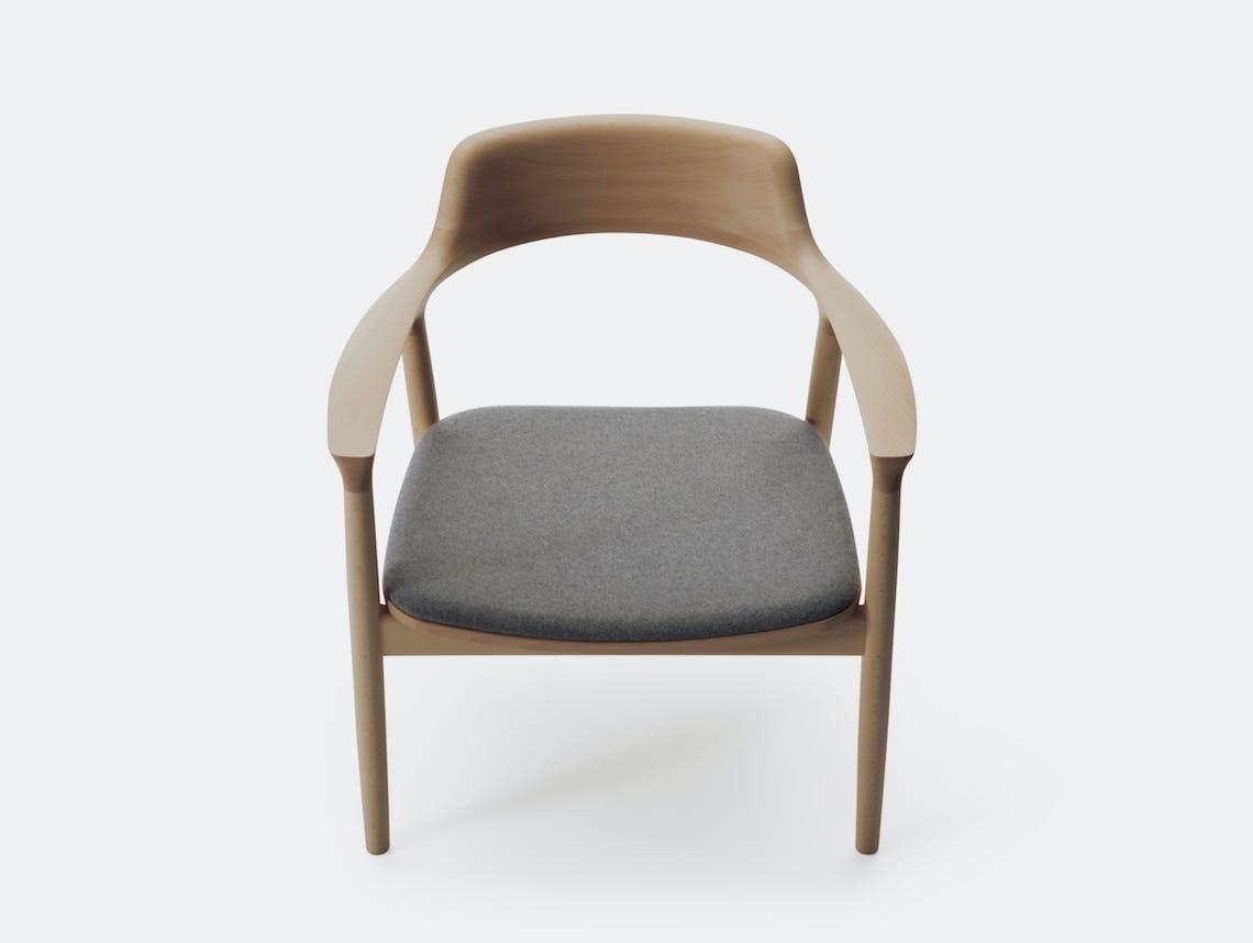 Maruni Hiroshima Lounge Chair Beech Grey Flano Naoto Fukasawa