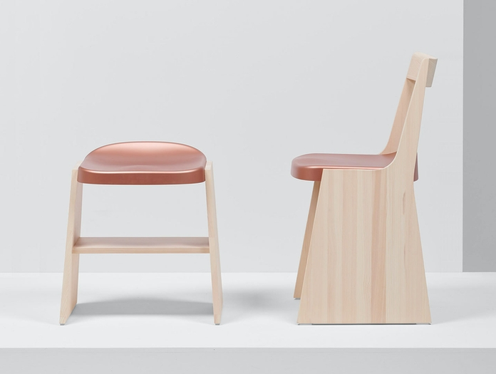 Mattiazzi Fronda Chair And Stool Pine Copper Seat Sam Hecht Kim Colin