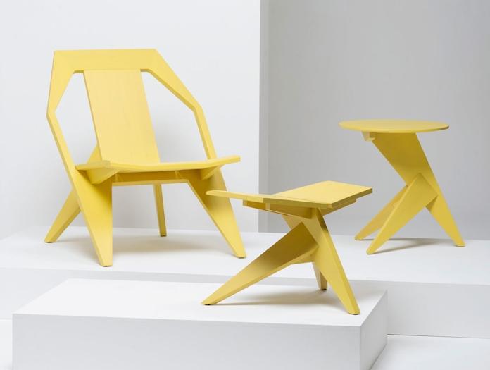 Mattiazzi Medici Lounge Chair Table Stool Yellow Ash Konstantin Grcic