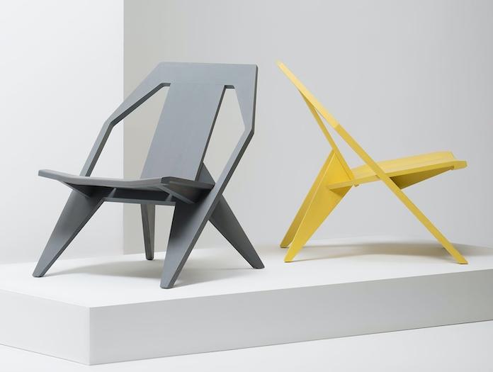 Mattiazzi Medici Lounge Chairs Yellow Grey Ash Konstantin Grcic
