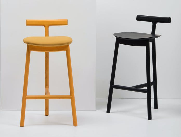 Mattiazzi Radice Stool Ash Black Yellow Upholstered Sam Hecht Kim Colin
