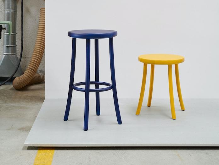 Mattiazzi Zampa Stools Yellow Blue Jasper Morrison