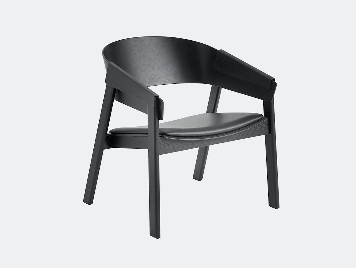 Muuto Cover Lounge Chair Upholstered Seat Black Thomas Bentzen