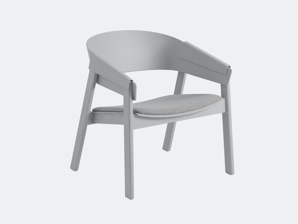Muuto Cover Lounge Chair Upholstered Seat Grey Thomas Bentzen