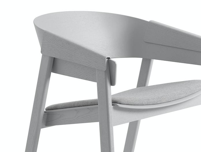 Muuto Cover Lounge Chair Upholstered Seat Grey Detail Thomas Bentzen