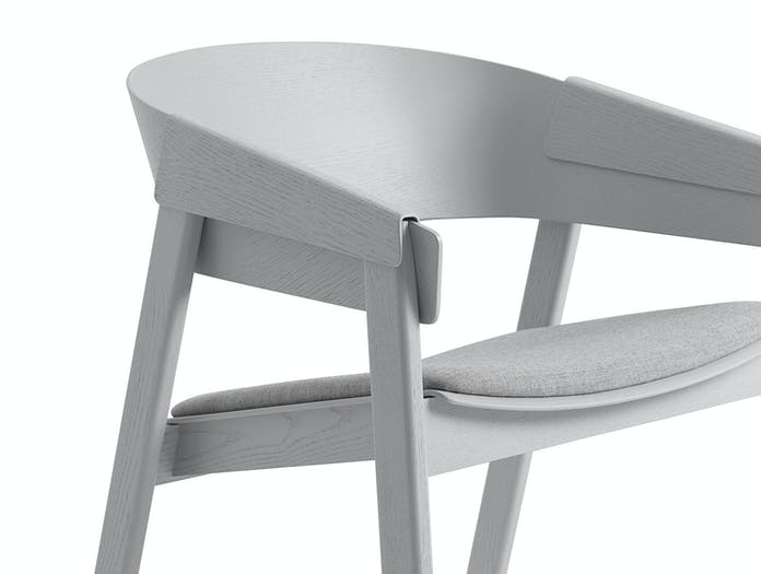 Muuto Cover Lounge Chair Upholstered Seat Grey Detail Thomas Bentzen