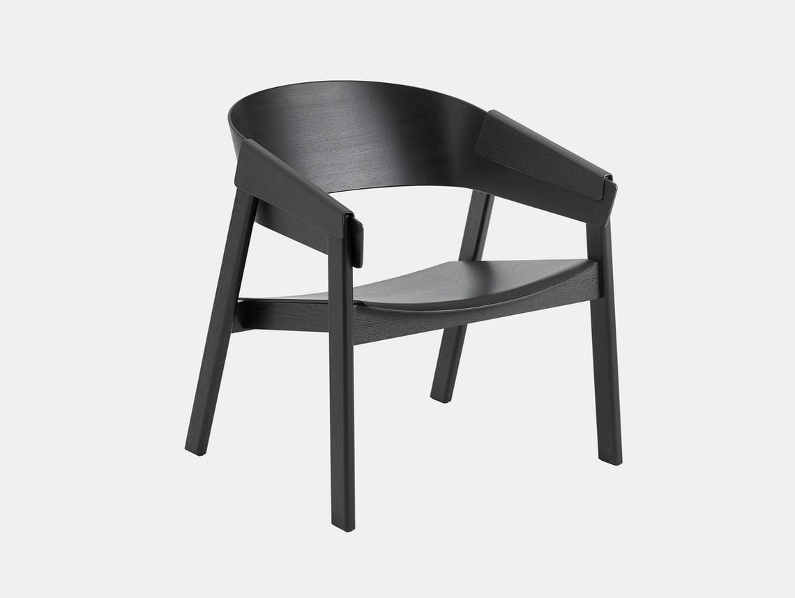 Muuto Cover Lounge Chair Wooden Seat Black Thomas Bentzen