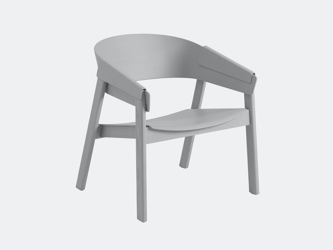 Muuto Cover Lounge Chair Wooden Seat Grey Thomas Bentzen