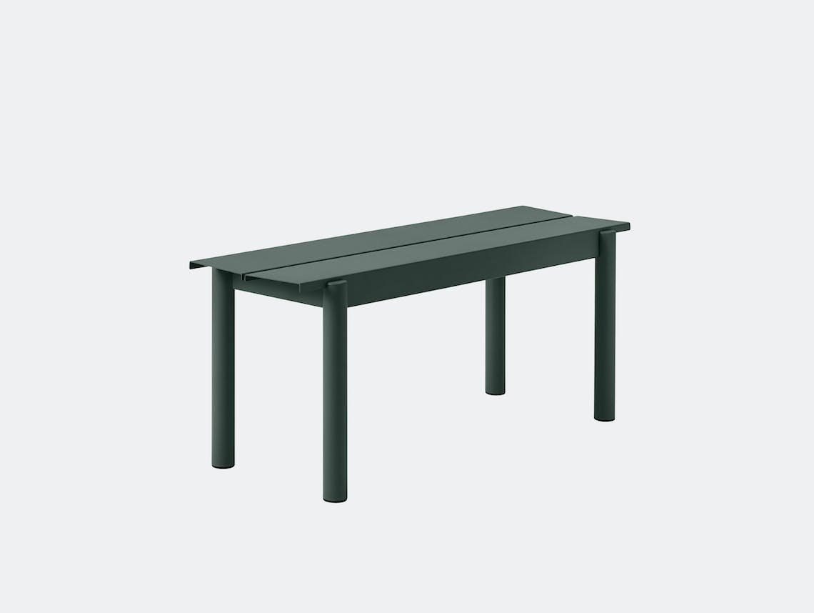 Muuto Linear Steel Outdoor Bench L 110Cm Dark Green Thomas Bentzen