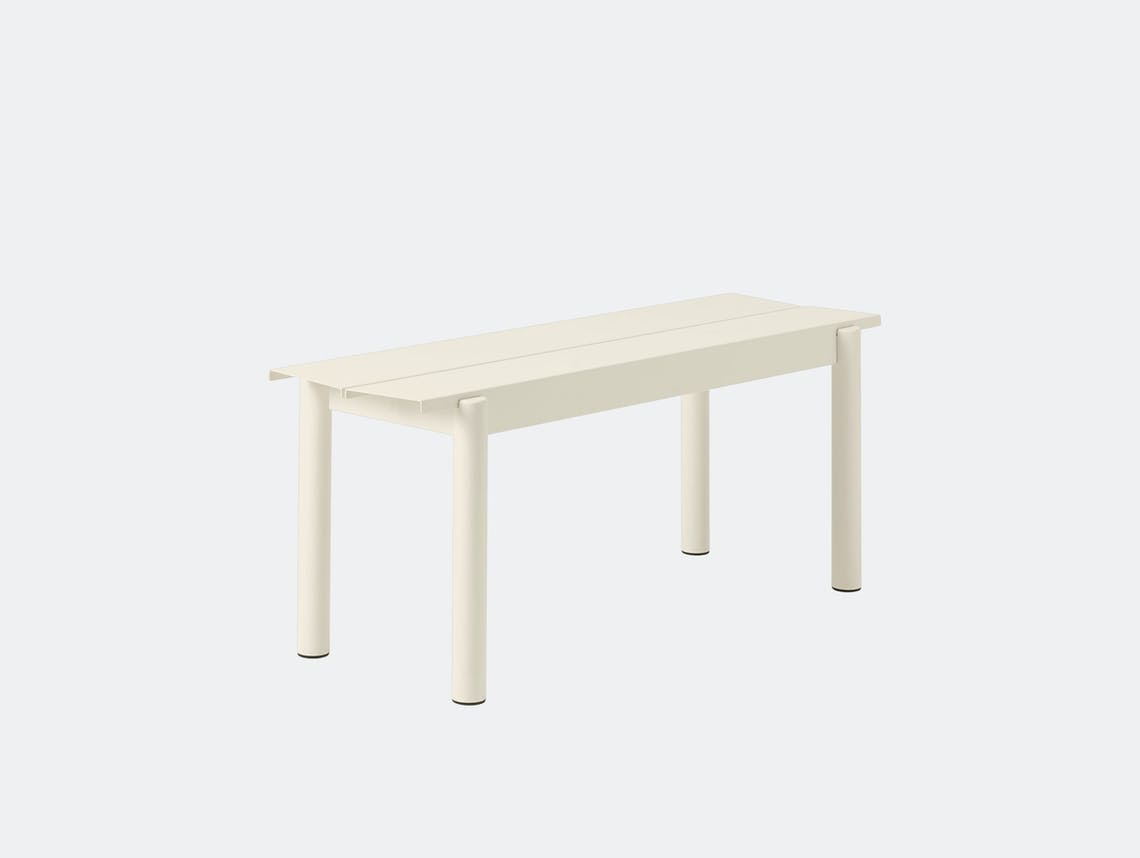 Muuto Linear Steel Outdoor Bench L 110Cm Off White Thomas Bentzen