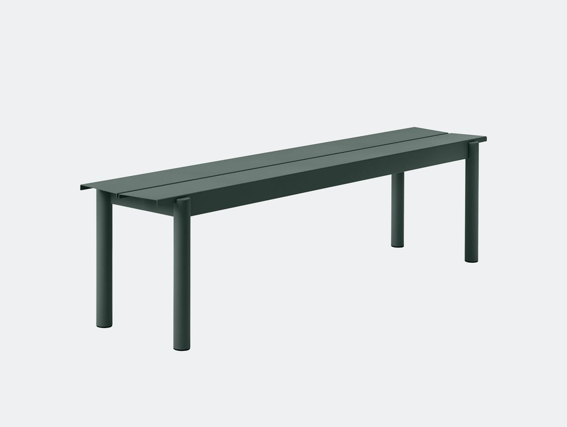 Muuto Linear Steel Outdoor Bench L 170Cm Dark Green Thomas Bentzen