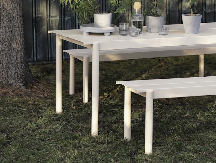 Muuto Linear Steel Outdoor Table Bench Off White Detail Thomas Bentzen