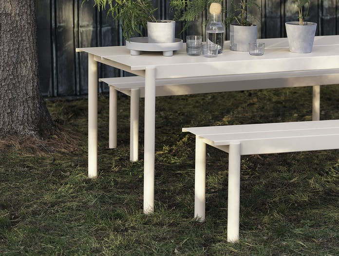Muuto Linear Steel Outdoor Table Bench Off White Detail Thomas Bentzen
