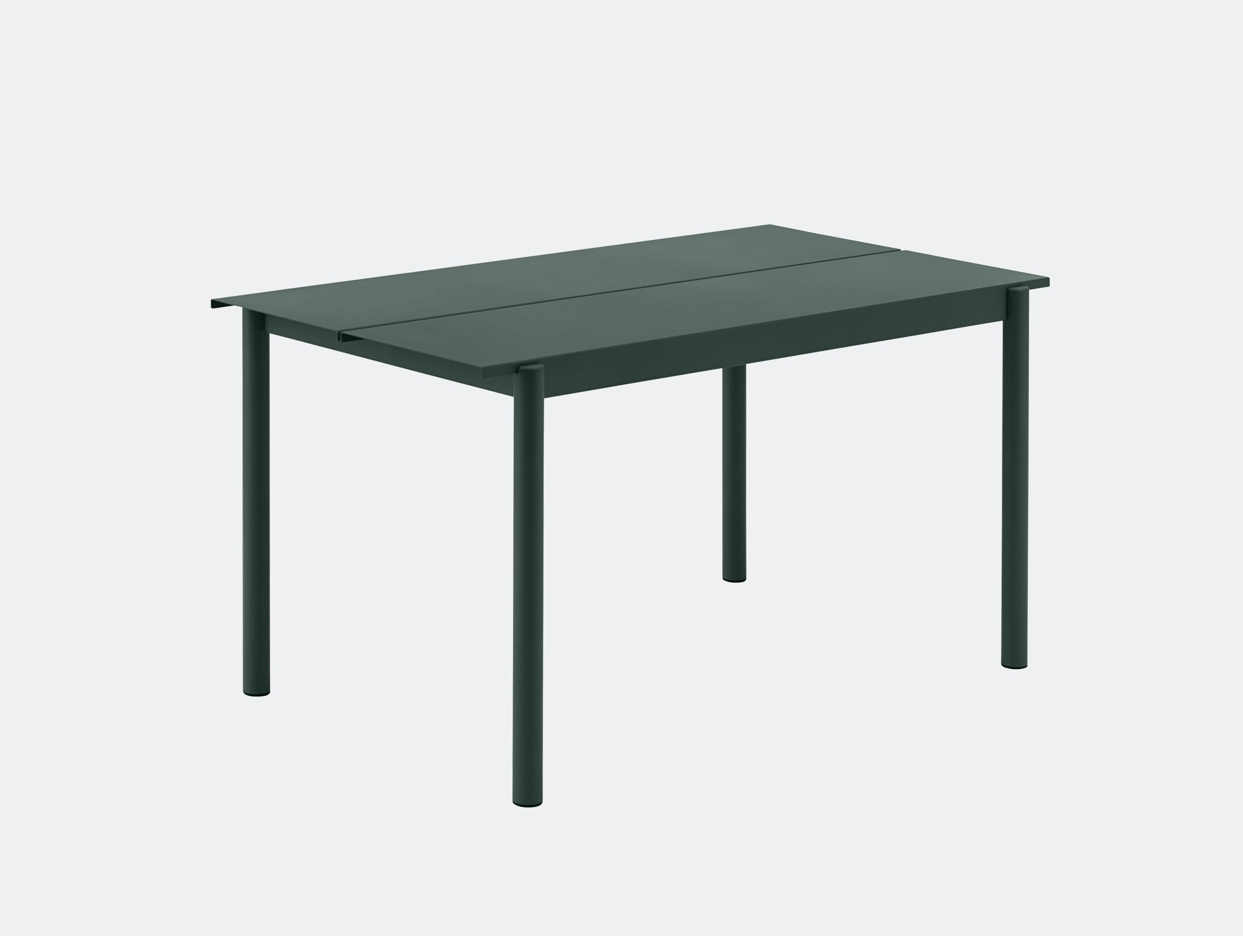 Muuto Linear Steel Outdoor Table L 140Cm Dark Green Thomas Bentzen